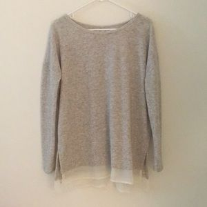 Oatmeal colored sweater w/ sheer bottom